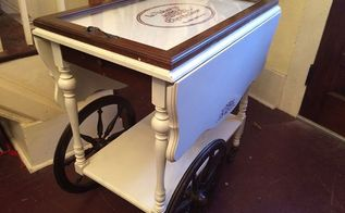 painted and revamped tea cart on wheels, painted furniture