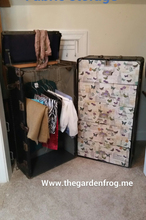 from smelly wardrobe trunk to fabulous fabric storage, decoupage, painted furniture, repurposing upcycling, storage ideas