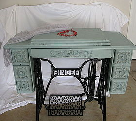 singer treadle sewing machine cabinet gets a makeover in duck egg blue chalk paint