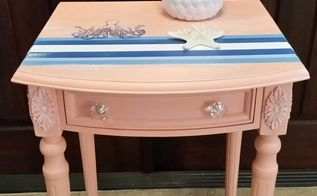 coral painted side table, chalk paint, painted furniture