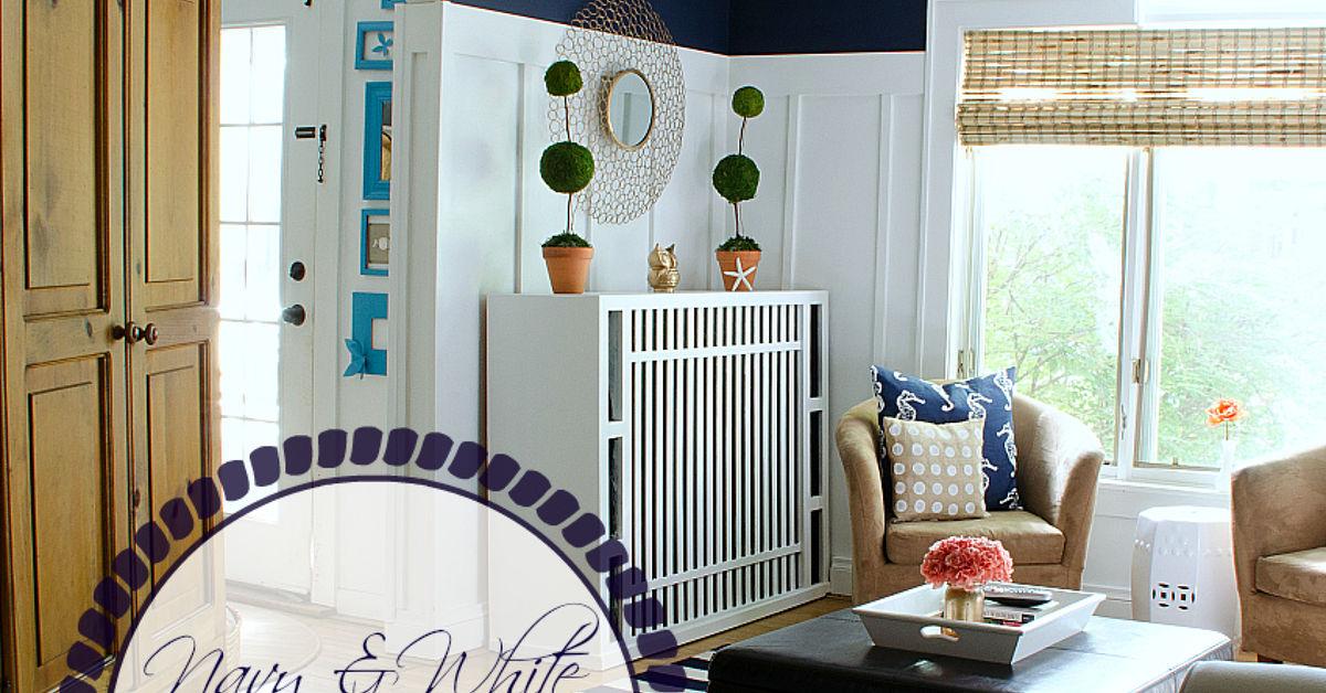 Board Batten Navy And White Living Room Hometalk