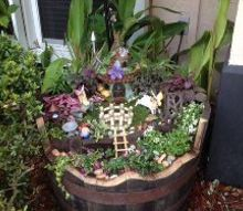 my whiskey barrel fairy garden, container gardening, crafts, gardening, repurposing upcycling