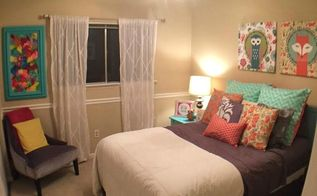 a colorful guest bedroom, bedroom ideas, crafts, how to, reupholster, wall decor