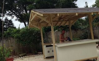 outdoor grill and bar hut, outdoor furniture, outdoor living, repurposing upcycling, woodworking projects
