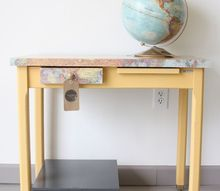 decoupaged desk with stockist kalology studio, chalk paint, decoupage, how to, painted furniture