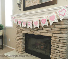 simple no sew bunting flag valentine decor idea, fireplaces mantels, how to, repurposing upcycling, seasonal holiday decor, valentines day ideas