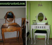 white dressing table makeover, decoupage, painted furniture