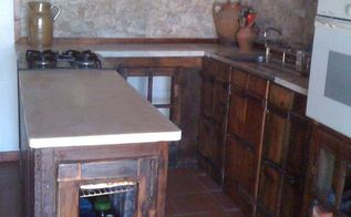 rustic kitchen makeover with recycled materials, countertops, kitchen backsplash, kitchen design, repurposing upcycling, rustic furniture