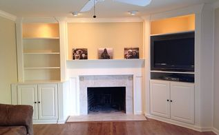 family room renovation featuring custom bookcases, fireplaces mantels, flooring, hardwood floors, living room ideas, painting, shelving ideas