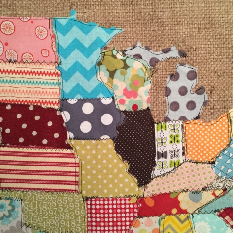 Make a map of the usa using fabric scraps hometalk for Fabric crafts to make