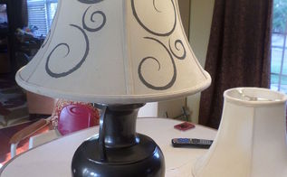painting brass lamps stencil lampshades, crafts, how to, lighting