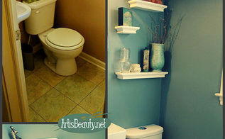 finished tiny half bathroom powder room remodel, bathroom ideas, diy, home decor, home improvement, tile flooring
