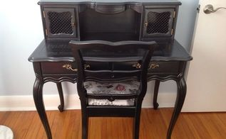 what every well dressed woman needs is a little black desk, painted furniture, reupholster