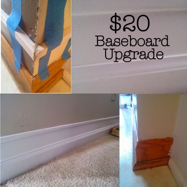 Diy 20 baseboard upgrade hometalk for Cost to paint baseboard