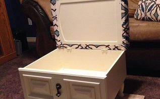 storage ottoman, painted furniture, repurposing upcycling, storage ideas, reupholster