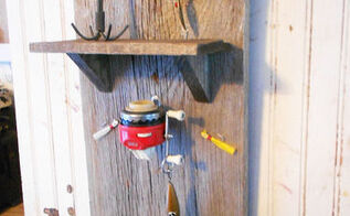 vintage fishing gear wall organizer and key hook, organizing, repurposing upcycling, woodworking projects