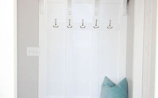 diy mudroom bench, foyer, organizing, storage ideas, wall decor, woodworking projects