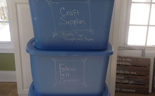label your storage tubs with chalk markers, craft rooms, crafts, garages, organizing, storage ideas