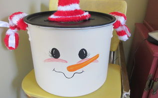 snowman kettle, crafts, how to, repurposing upcycling, seasonal holiday decor, Isn t she cute
