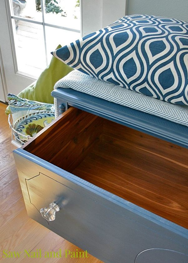 Vintage cedar chest in navy blue hometalk for Navy blue painted furniture
