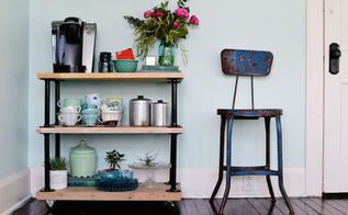 diy industrial pipe coffee cart, diy, how to, painted furniture, repurposing upcycling, shelving ideas, woodworking projects