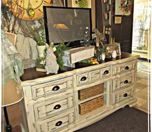 outdated dresser turned chic television console, painted furniture, repurposing upcycling