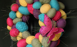 spring easter egg yarn wreath, crafts, easter decorations, seasonal holiday decor, wreaths