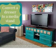 dresser to media stand conversion, painted furniture, repurposing upcycling