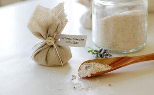 homemade oatmeal lavender bath soak, bathroom ideas, crafts, how to, repurposing upcycling
