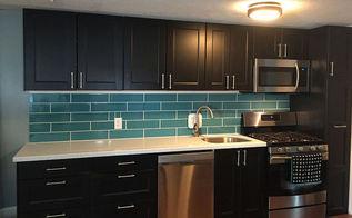 diy turquoise subway tile backsplash, how to, kitchen backsplash, kitchen cabinets, kitchen design