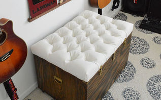 the hardest button to button a diy tufted storage ottoman, painted furniture, storage ideas, reupholster, DIY diamond tufted storage ottoman
