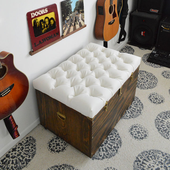 the hardest button to button a diy tufted storage ottoman, painted  furniture, storage ideas - The Hardest Button To Button: A DIY Tufted Storage Ottoman. Hometalk