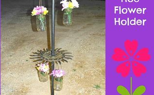 rotary hoe flower holder, crafts, gardening, repurposing upcycling