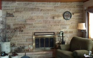 q updating a stone fireplace wall, concrete masonry, fireplaces mantels, living room ideas, wall decor, picture of entire wall there are also 3 stove shelve which I have no problem removing