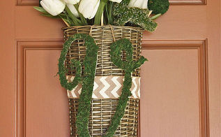 spring decor door basket moss covered initial, crafts, diy, doors, home decor, seasonal holiday decor