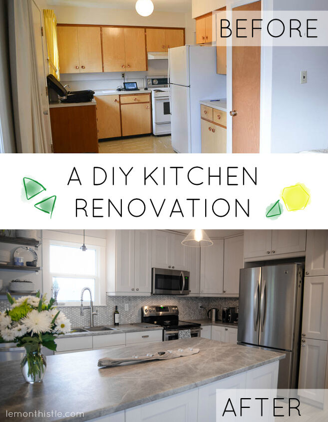 White and bright diy kitchen makeover hometalk - Kitchen cabinet diy makeover ...