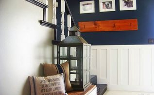 brightening up a dark entry way, foyer, painting, stairs, wall decor