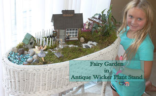 fairy garden in antique wicker basket, container gardening, gardening, repurposing upcycling
