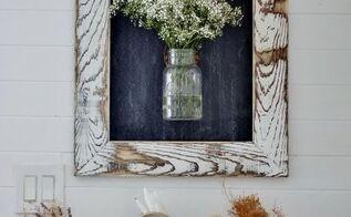 easy diy rustic farmhouse framed chalkboard, chalkboard paint, crafts, wall decor, woodworking projects