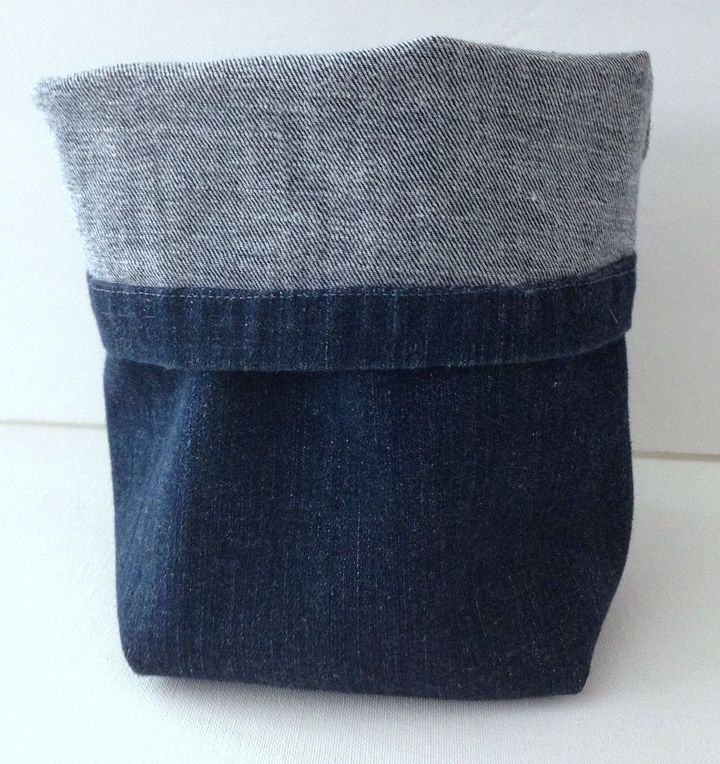 Quick easy hand sewn upcycled denim storage basket for Jeans upcycling ideas