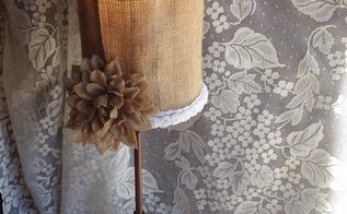 burlap lamp shade makeover, crafts, how to, lighting, repurposing upcycling
