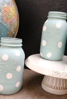 diy polka dot jars, crafts, mason jars, repurposing upcycling