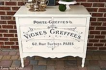 french graphic painted dresser, chalk paint, painted furniture, repurposing upcycling