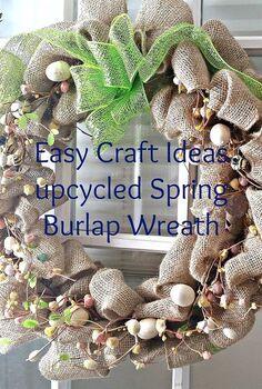 upcycled spring burlap wreath, crafts, seasonal holiday decor, wreaths