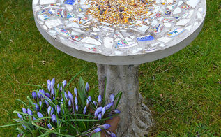 how to make a mosaic bird feeding table, gardening, how to, outdoor living, pets animals, repurposing upcycling, This piece of garden art is for the birds