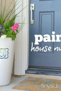 hand painted house numbers for spring decorating, crafts, curb appeal, porches