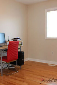 before after a pretty home office makeover, diy, home improvement, home office, painting, shelving ideas, Before