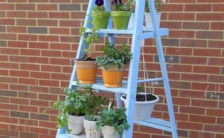ladder herb garden, container gardening, gardening, outdoor living, repurposing upcycling