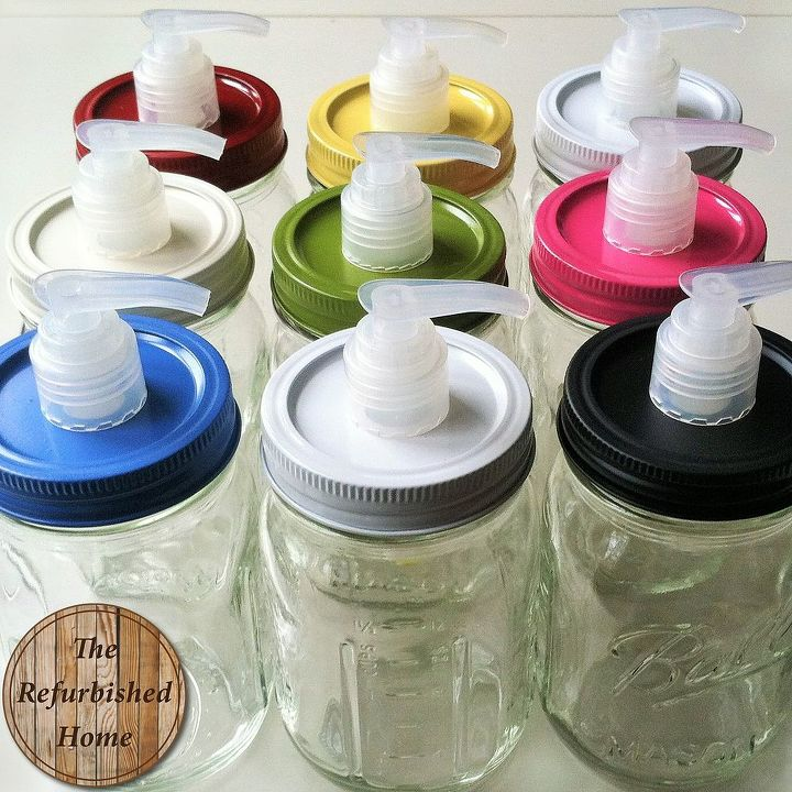 Diy mason jar soap pump hometalk for Bathroom jar ideas