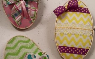 pretty easter eggs from embroidery hoops, crafts, easter decorations, how to, seasonal holiday decor